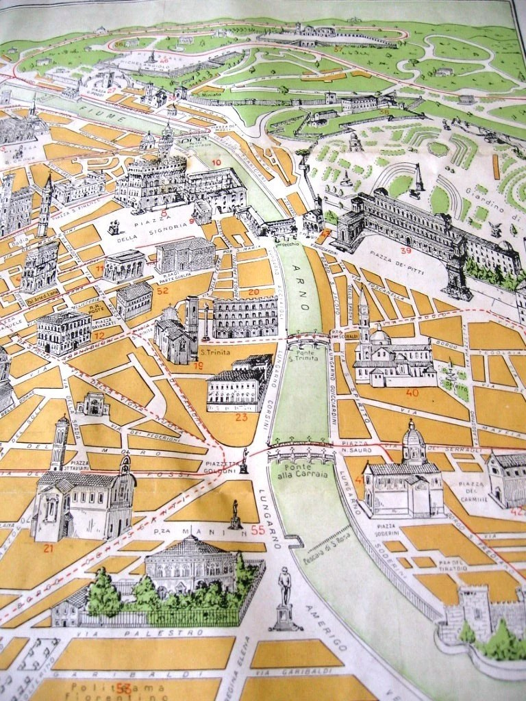 Vintage Map of Florence Italy by MrsPottsVintage on Etsy