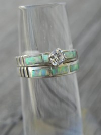 Opal Wedding Ring Set by hollywoodrings on Etsy