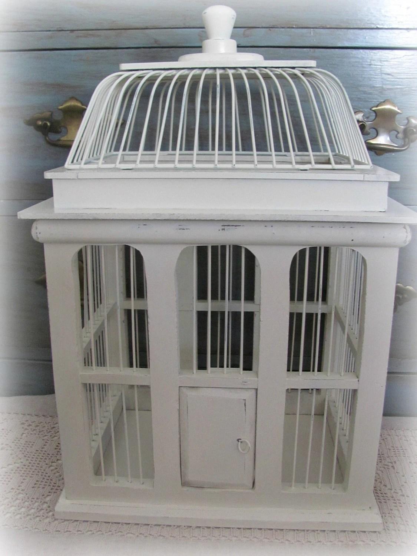Beautiful Creamy White Decorative Bird Cage Wedding Card