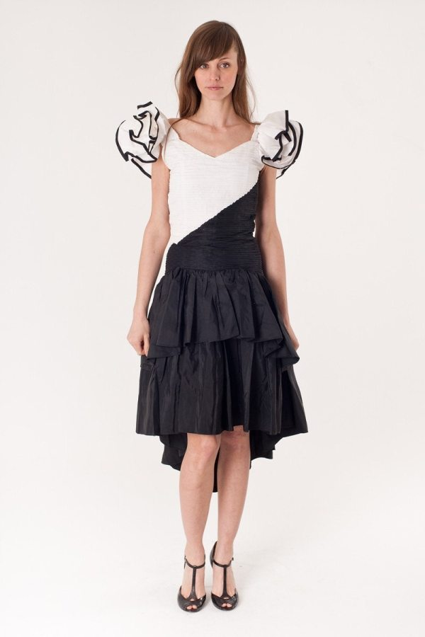 Vintage 80s Black And White Tuxedo Prom Dress Ruffle
