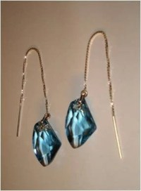 Sterling Silver and Blue Crystal Ear Threads Threader