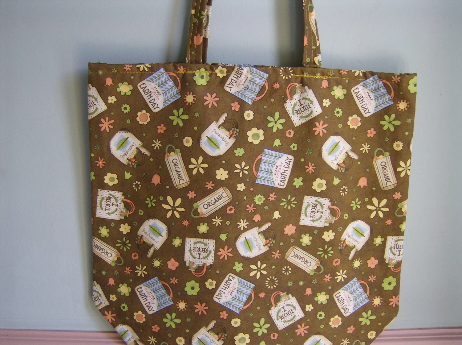Reusable Market Grocery Shopping Bag, Earth Day Debbie Mumm Fabric, Heavyweight, Nylon Lined