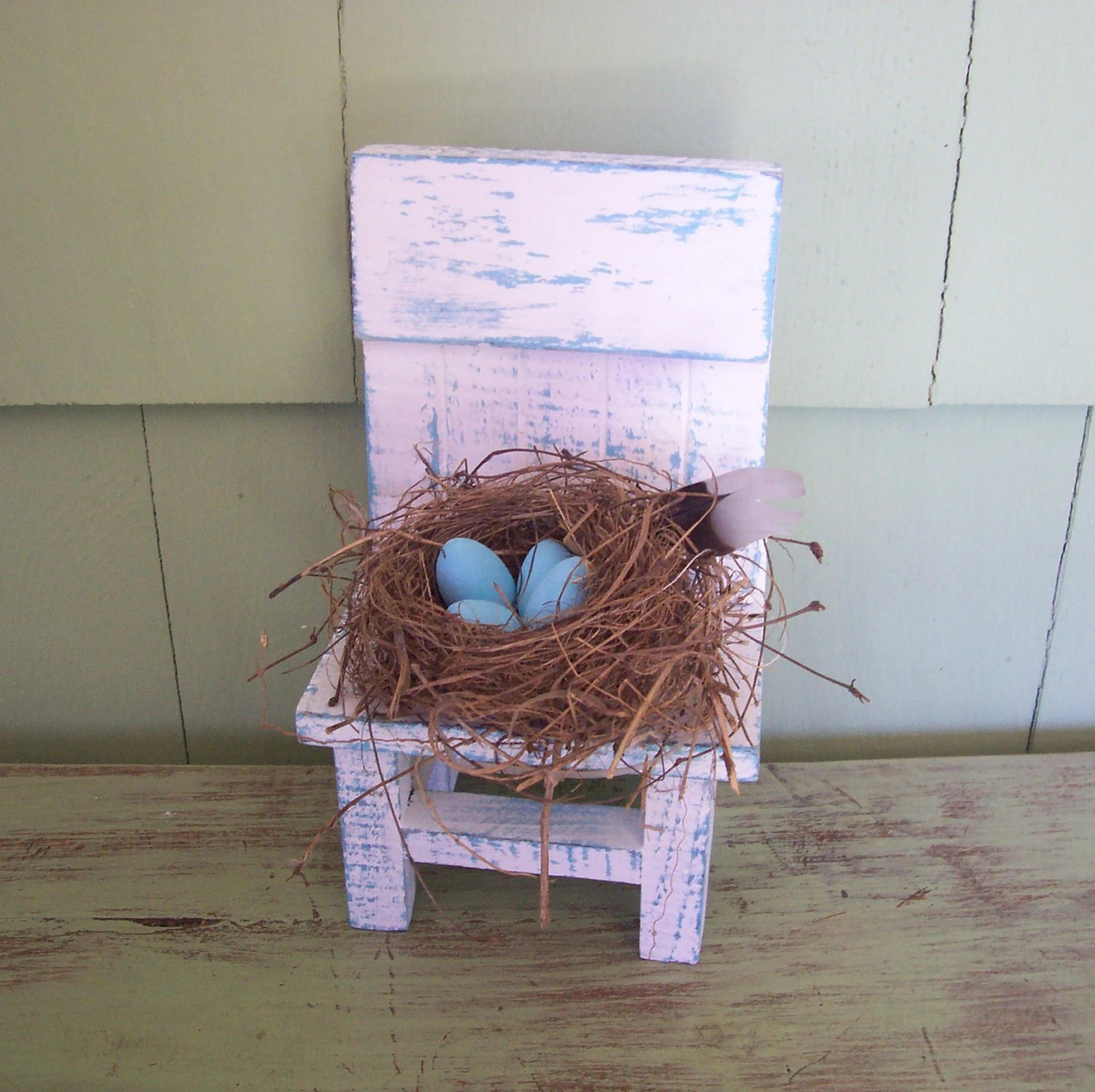 Bird Nest Chair Natural Bird Nest Blue Eggs White Chair Primitive Shabby