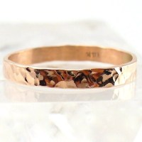 Rose Gold Ring Solid 14k Hammered Band
