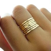 Hammered Gold Ring 7 Band Set
