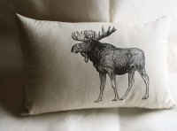 Vintage Moose Pillow Rustic Home Decorative Pillow Cottage