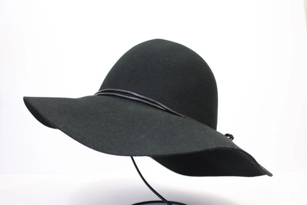 100 Percent  Wool Plain Floppy Sun Hat Black - SacHats
