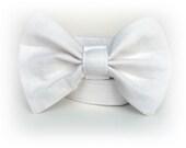 Dog Collar Bow Tie - White Linen - Free U. S. Shipping - BigpawCollars