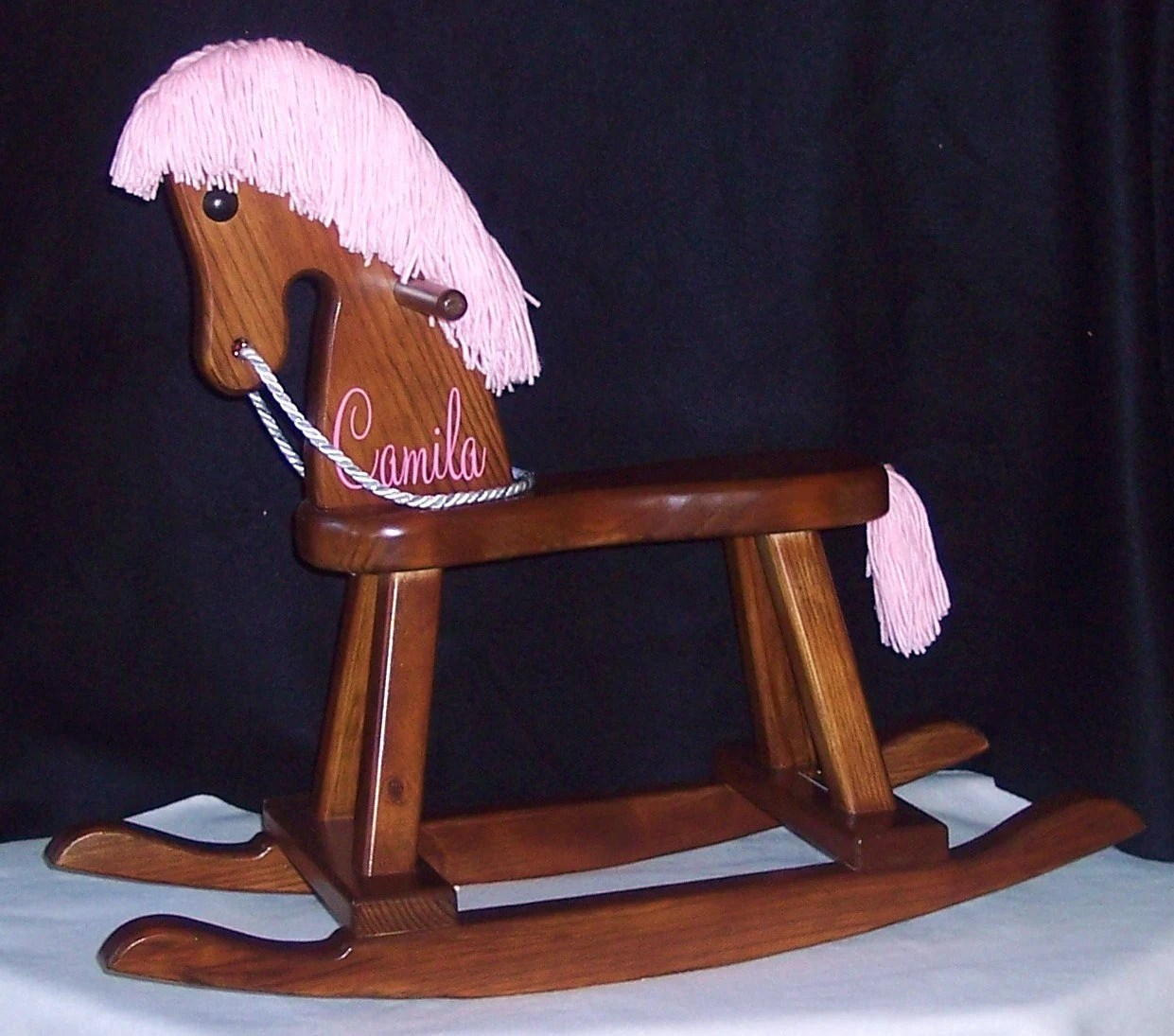 personalized rocking chair for toddlers light blue dining chairs uk toddler horse pink mane