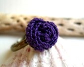 Purple rose ring Fall Lace Fashion Trends Girlfriend gift idea under 20 Adjustable Ring Handmade Crocheted rose ring - MaryKCreation