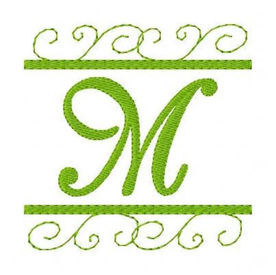 Monogram Machine Embroidery Font Design Set Scrolls Swirls
