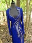 Cobalt Blue Beaded Evening Gown