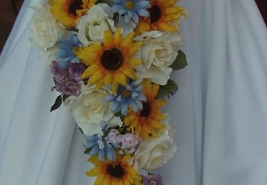 Sunflower Wedding Bouquets With Blue