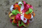 rainbow colors hair bow loopy flower