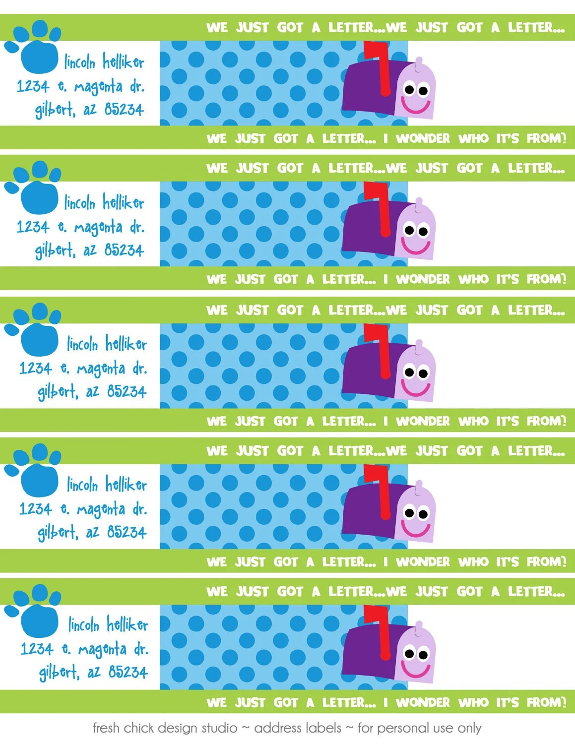 Blues Clues Printable Birthday Party Address Labels Fresh