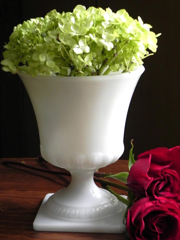 Vintage Milk Glass Pedestal Urn Vase From Country Home City
