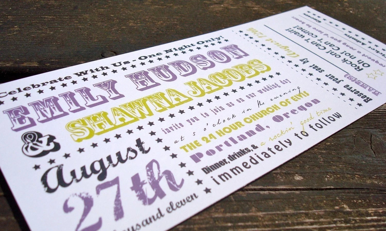 Concert Ticket Wedding Invitation sample set by FreshPaperStudios