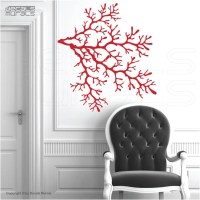 Wall decals 4 CORAL REEF BRANCHES Vinyl art interior decor by