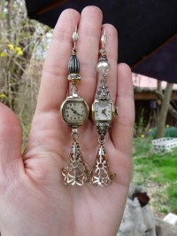 A Ladies Time Vintage Elgin Watch Earrings