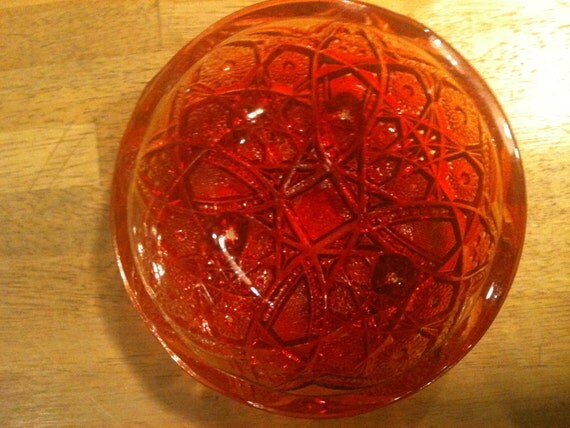 Vintage RedYellow Footed Carnival Glass Bowl
