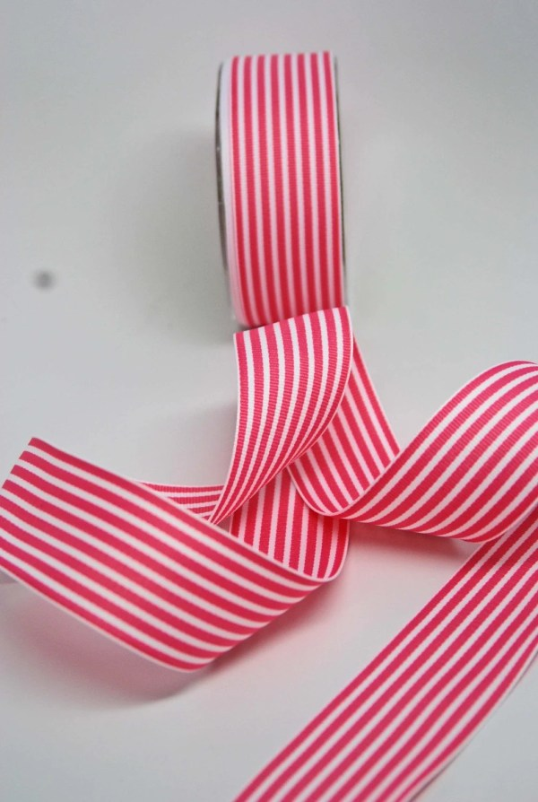 Striped Grosgrain Ribbon 1.5 Inches Pink White