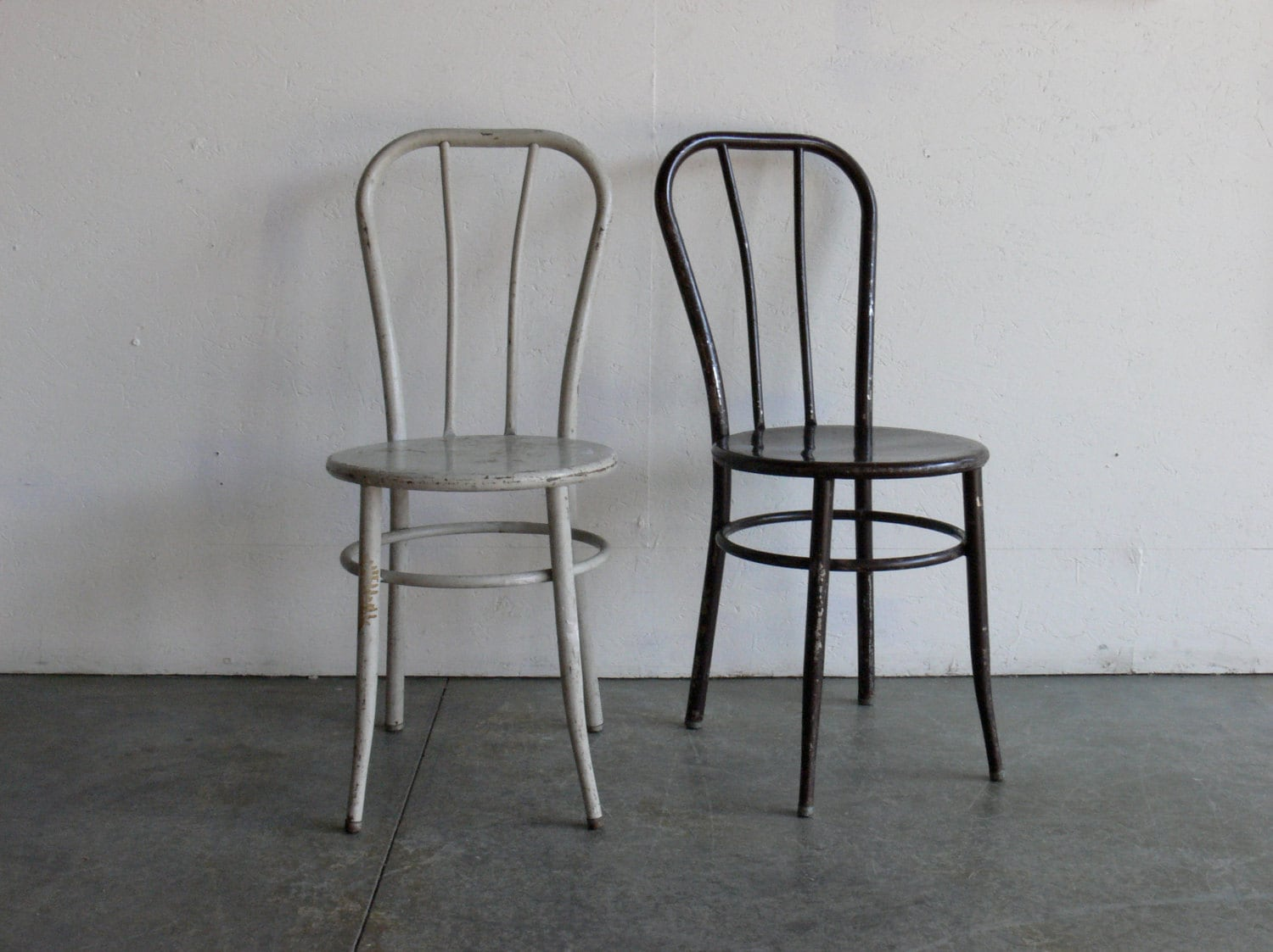 cafe chairs metal wedding chair covers in surrey vintage industrial set of 2