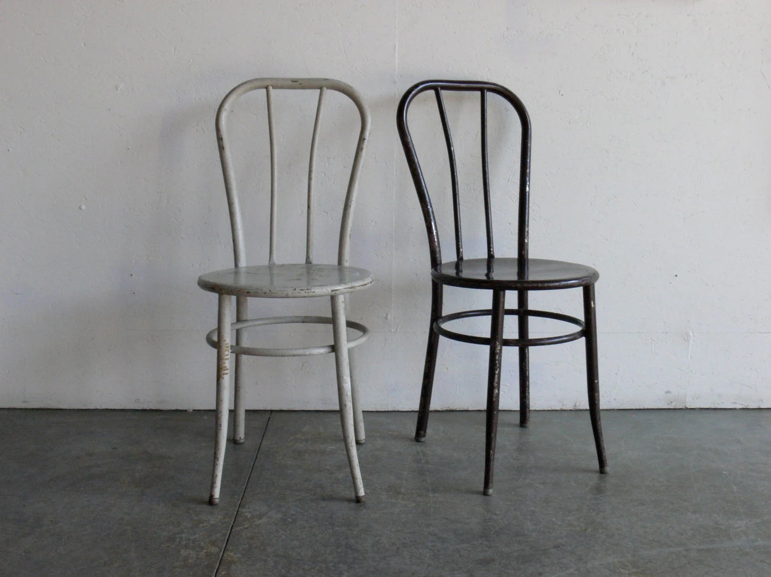Metal Chairs Vintage Industrial Metal Cafe Chairs Set Of 2