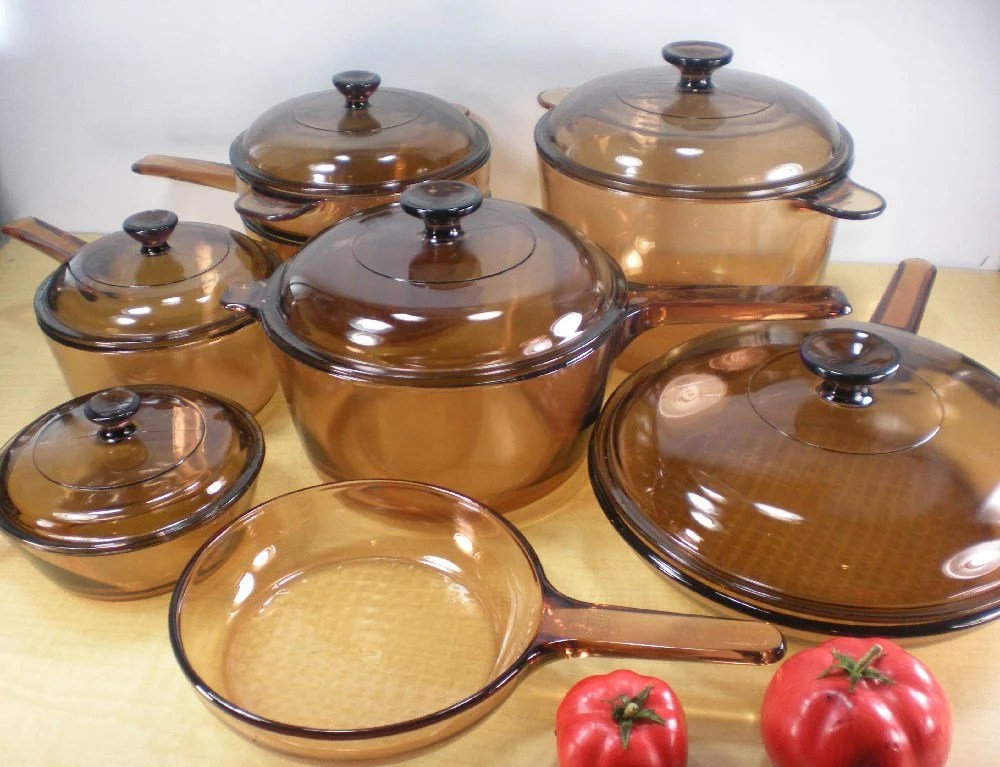 Corning Vision Amber Cookware Pots Pans 14 Pc By