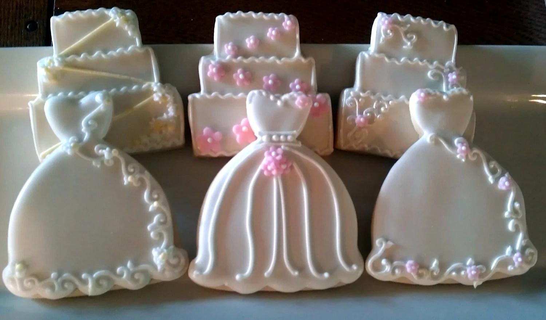 24 Decorated Sugar Cookies Wedding Dress Cake Bridal Shower