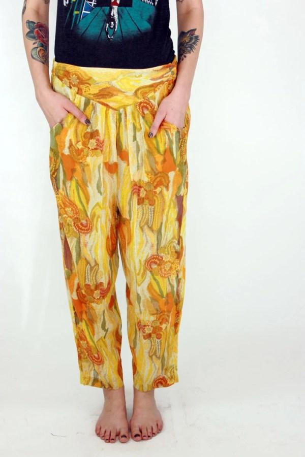 Vintage 90s Silk Sheer Floral Hippie Gypsy Harem Pants