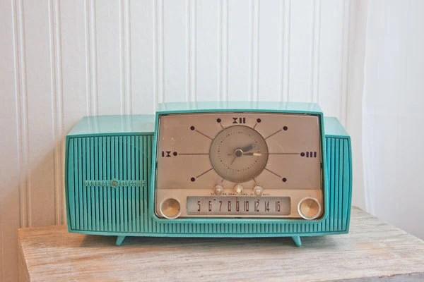 1950s Vintage Clock Radio Turquoise General Electric GE Retro