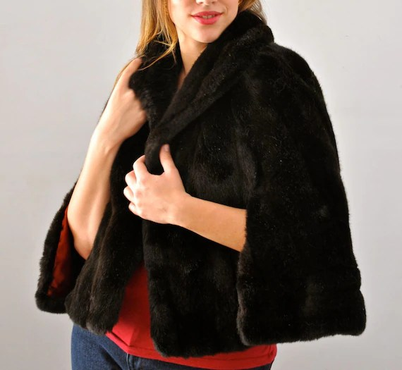 Brown Faux Fur Cape Capelet Shawl Stole with Collar and Arm