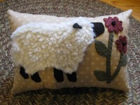 Penny Rug Sheep Pillow...Wooly Lamb Smelling Daisies