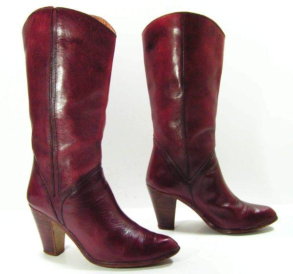 Vintage High Heel Leather Cowboy Boots Vintagecowboyboots