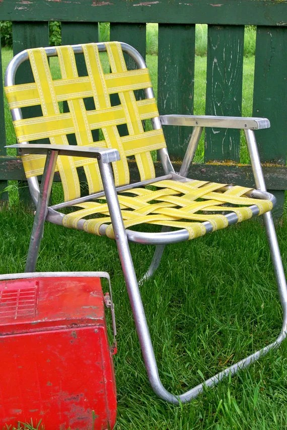 aluminum webbed lawn chairs turquoise accent vintage yellow chair ready for by leapinglemming