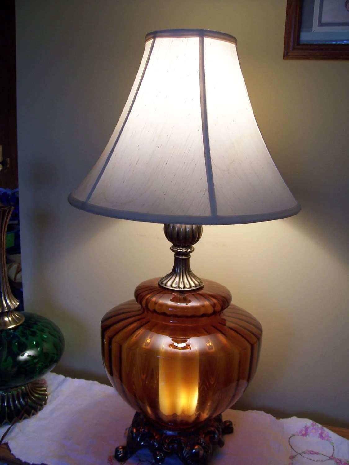 ON SALE Large Amber Table Lamp by MusteredTreasures on Etsy