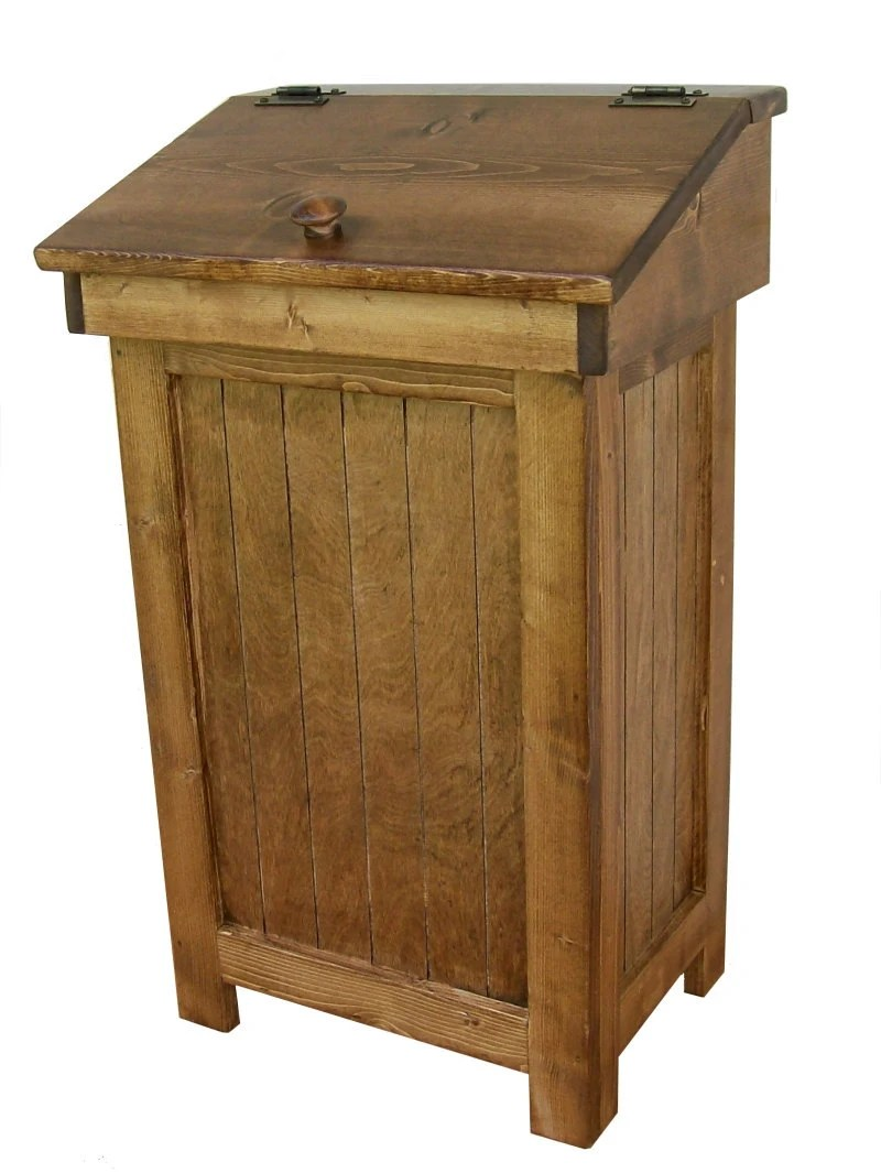 Country Distressed Wooden Trash Bin 13 Gal