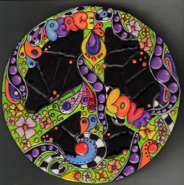 Peace Sign Mosaic Wooden Wall Art Psychedelic Room Decor