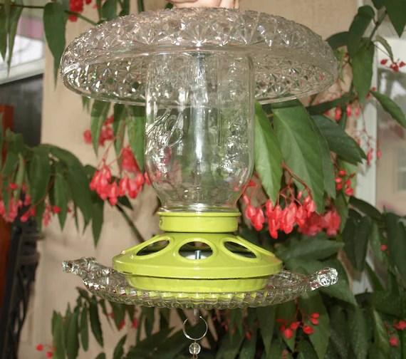 Mason Jar Bird Feeder Repurposed Chicken Feeder Glass Green