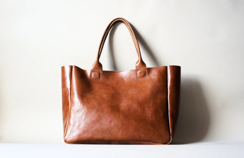 Brown Leather  Bag - Heirloom Tote - Cognac Brown Vegetable Tanned Leather