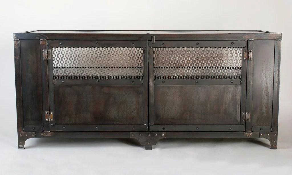 Custom Handmade Industrial Metal Media Cabinet Tv Stand