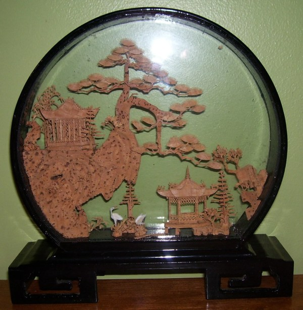 Cork Carving Chinese Art In Shadow Box