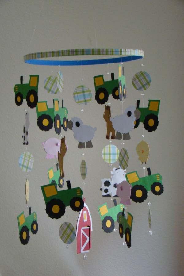 John Deere Tractor Farm Animal Barn Baby Mobile