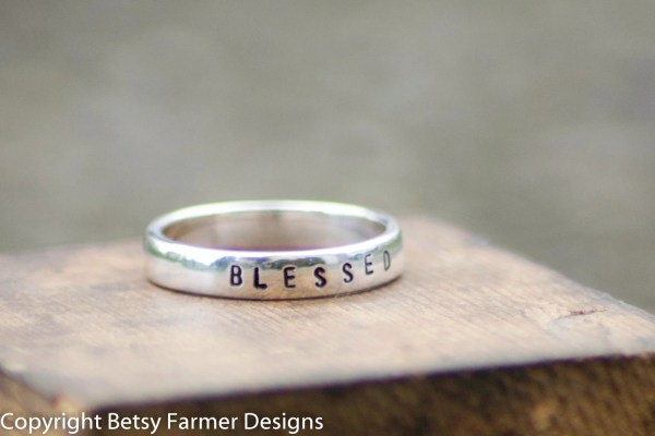 Personalized Hand Stamped Ring Sterling Silver