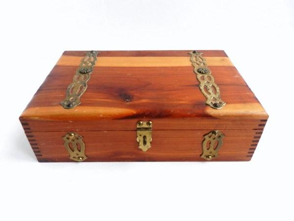 Large Wooden Cigar Jewelry Box Antique Cedar Wood