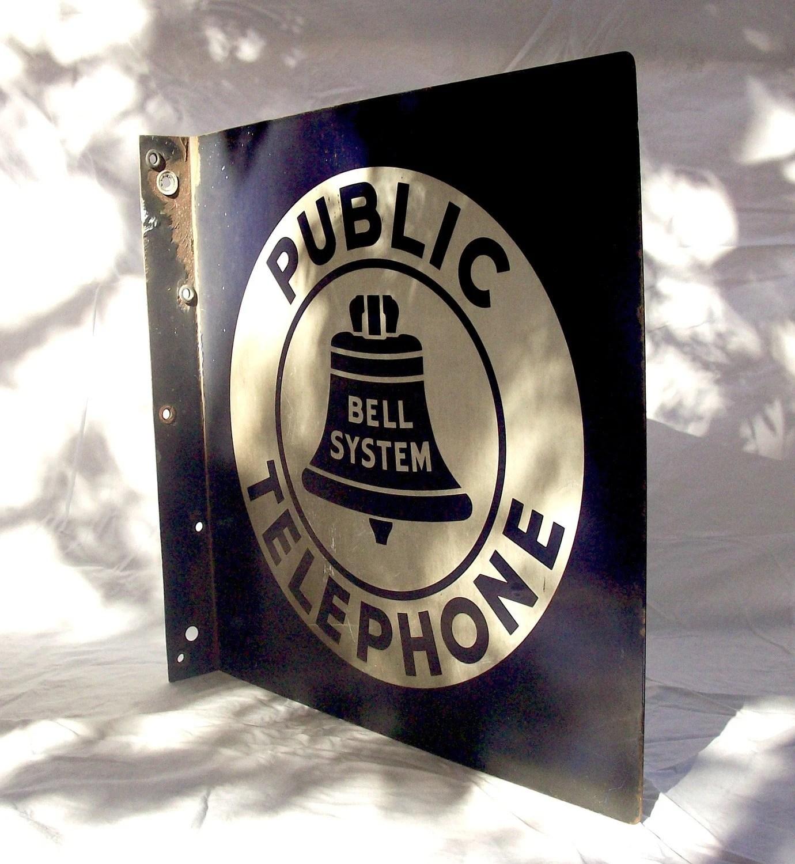 SALE Vintage Bell System Public Telephone SIGN Porcelain over
