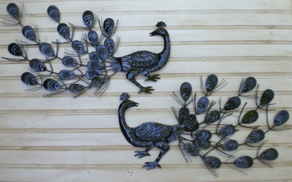 Vintage Pair Metal Peacock Silhouettes Wall Hanging Art Mod