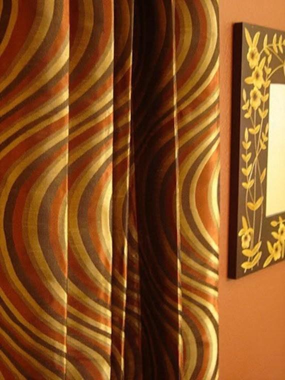 Custom Drapes In Rust Brown Modern Wave Print Fabric