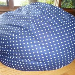 Bean Bag Chair Covers Replacement Seats For Dining Room Chairs Navy Blue With White Polka Dot Cover