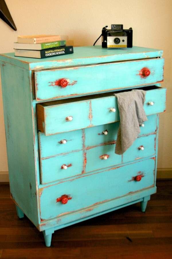 Shabby Chic Distressed Red Dresser
